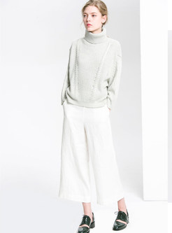 Fashion Turtle Neck Hollow Out Loose Sweater