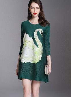 Autumn Green Three Quarters Sleeve Beaded Shift Dress