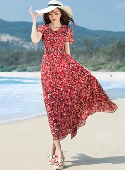 Bohemia Floral Print V-neck Maxi Dress
