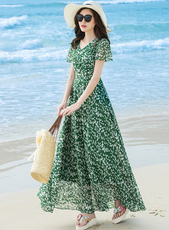 Beach Floral Print V-neck Maxi Dress