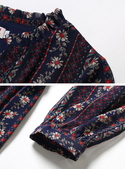 Ethnic Floral Print V-neck Maxi Dress