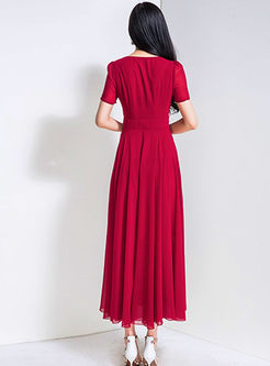 Brief O-neck Big Hem Slim Maxi Dress