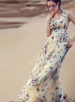 Fashion Butterfly Print Tied-waist A Line Maxi Dress