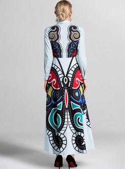 Street Geometric Print Lapel Waist Maxi Dress