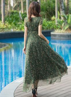 Green Floral Print Big Hem Maxi Dress
