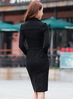 Notched Long Sleeve Sheath Slit Dress