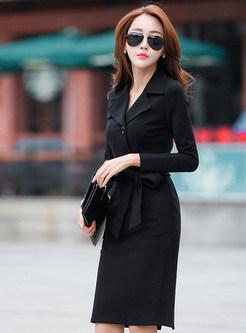 Stylish Notched Long Sleeve Sheath Slit Dress