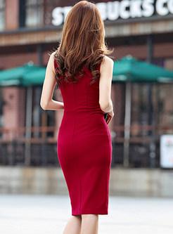 Sexy V-neck Sleeveless Slit Dress