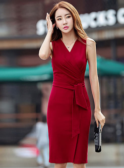 Sexy V-neck Sleeveless Slit Dress