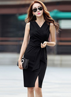 V-neck Sleeveless Slit Bodycon Dress