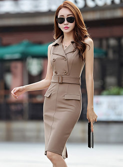 Sexy Notched Belted Double-basted Dress