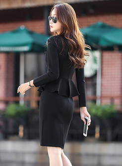 Work V-neck Long Sleeve Dress