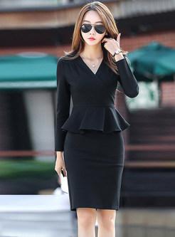 Work V-neck Long Sleeve Dress