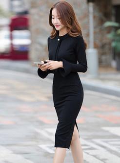 Flare Sleeve Slit Bodycon Midi Dress