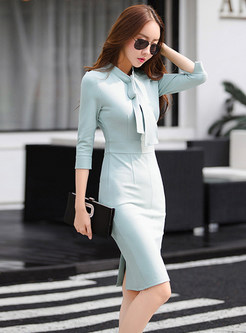 Slit Tied Half Sleeve Skinny Dress