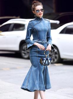 Elegant Tie-waist Denim Mermaid Dress