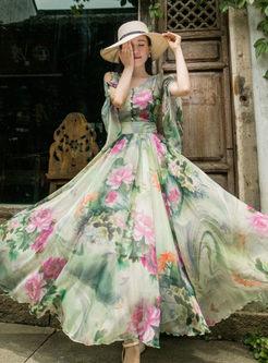 Trendy Short Sleeve Floral Printed Chiffon Maxi Dress