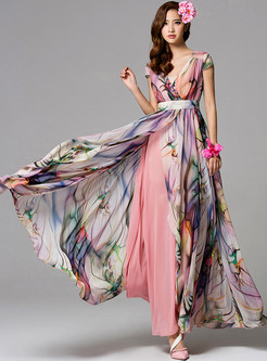 V-neck Short Sleeve Print Maxi Dress