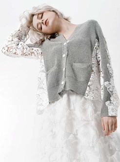 Chic Lace Splicing V-neck Single-breatsted Sweater
