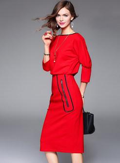 Autumn Trendy Red Slash Neck Wrap Bodycon Dress