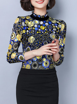 Brief Standing Collar Circle Print Pullover Blouse