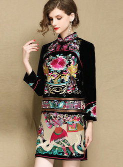 Ethnic Embroidered Mandarin Collar Sheath Bodycon Dress