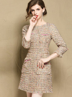 Autumn OL Stylish Woven Three Quarters Sleeve Mini Dress