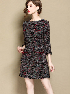 OL Stylish Woven Three Quarters Sleeve Zippered Dress