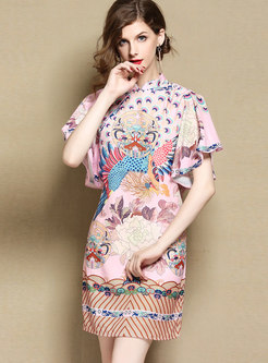 Vintage Petal Sleeve Peacock Print Improved Cheongsam Dress