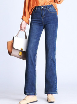 Denim High Waist Slim Elastic Flare Pants