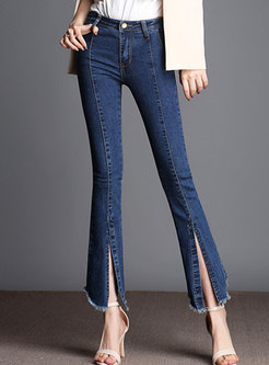 Blue Denim Slit Rough Selvedge Asymmetric Flare Pants