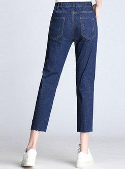 Elastic Waist Holes Asymmetric Slim Harem Pants