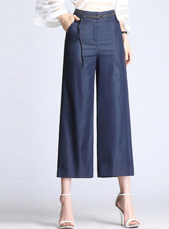 Brief Solid Color High Waist Wide Leg Pants