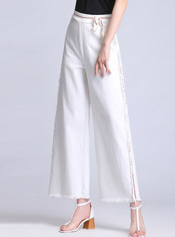 Chic White Rough Selvedge Wide Leg Pants