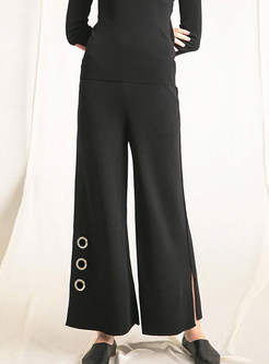 Black High Waist Straight Slit Wide Leg Pants