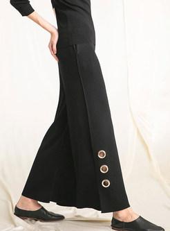 Black High Waist Straight Slit Wide Leg Pants