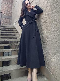 Black Elegant Belted Big Hem Slim Coat With Pockets