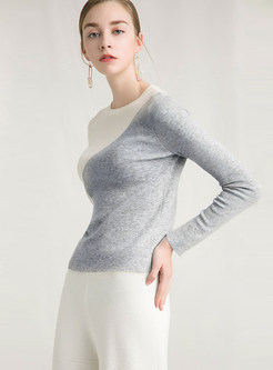 Brief Color-blocked O-neck Slim Bottoming Shirt