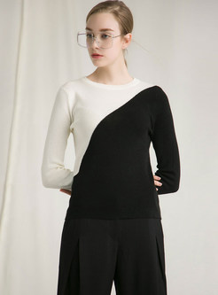 O-neck Long Sleeve Pullover Color-blocked Sweater