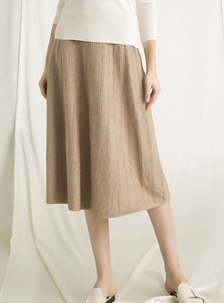 Fashion Knitted Easy-matching A Line Skirt