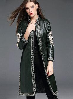 Ethnic Green Mandarin Collar PU Long Coat