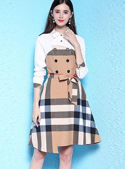 Stylish Stitching Grid Tied Plaid T-Shirt Dress
