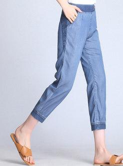 Color-blocked Denim Elastic Waist Harem Pants