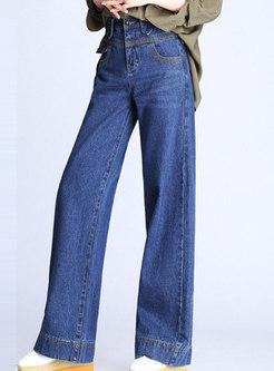 Blue High Waist Denim Wide Leg Pants