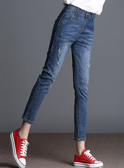 Denim Elastic High Waist Frayed Slim Pencil Pants