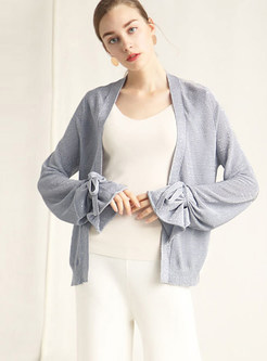 Grey Long Sleeve Tied Cardigan Knitted Coat