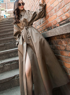 Trendy Hooded Tie-waist Slim Long Trench Coat