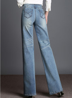 Denim High Waisted Wide Leg Pants