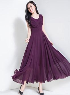 Purple Elegant High Waist Sleeveless Maxi Dress