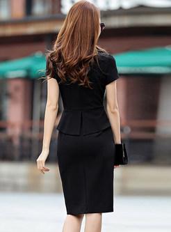 Work Notched Slit Bodycon Dress